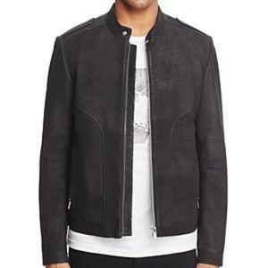 NWT! Hugo Link Mandarin Collar Leather Jacket Blac